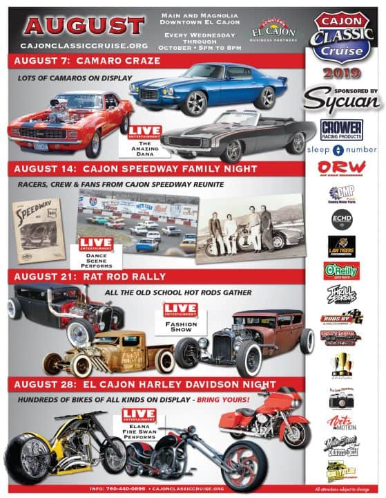 Cajon Classic Cruise Car Shows | August 2019 Schedule
