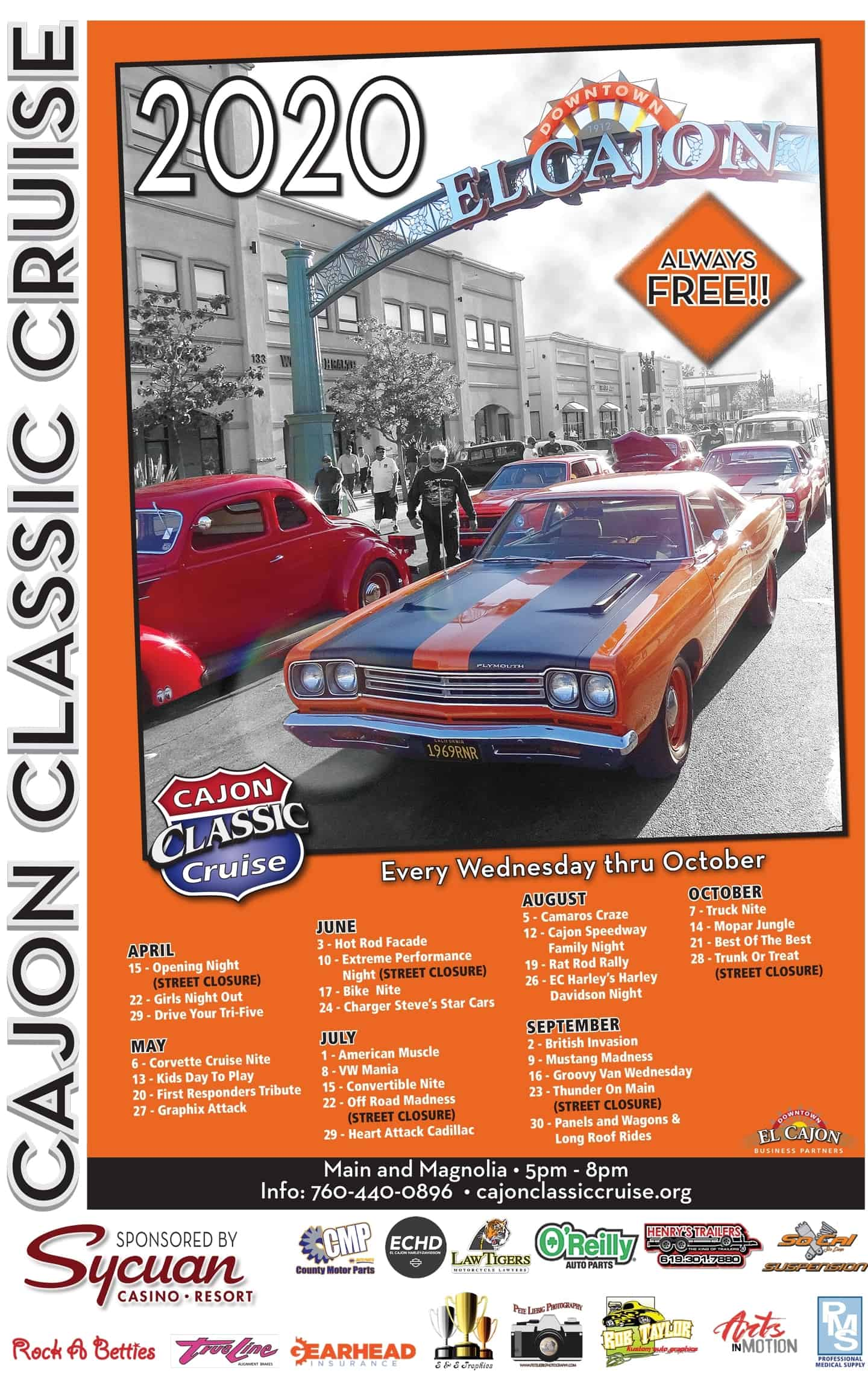 Opening Day Cajon Classic Cruise Car Shows April 15, 2020
