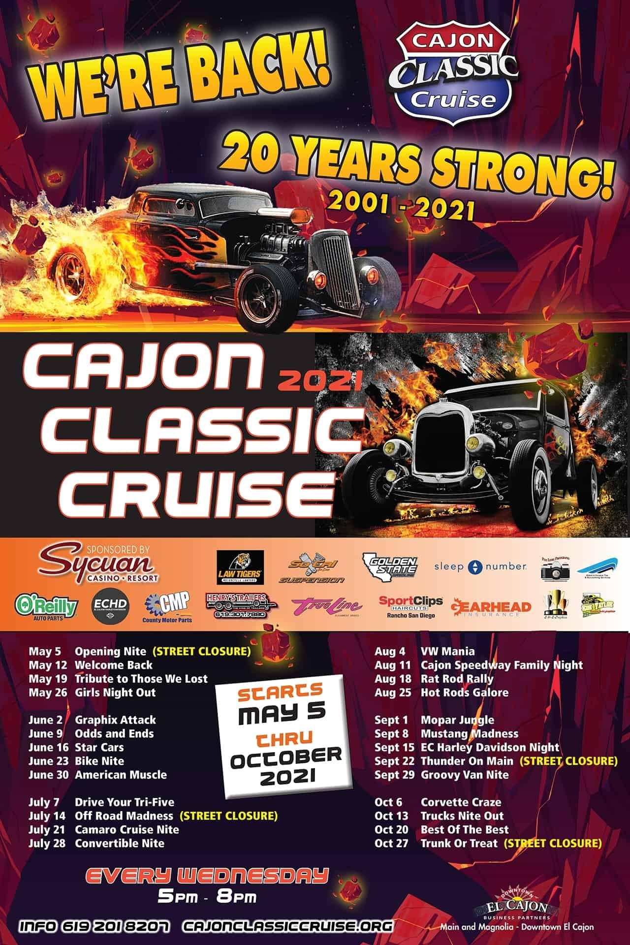 Cajon Classic Cruise Car Shows 2021 Schedule | Downtown El Cajon
